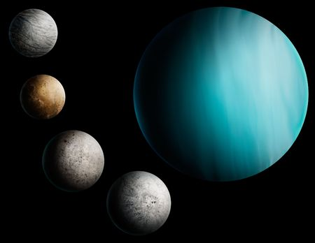 a digital painting of the planet Uranus and 4 of its many moons. Banco de Imagens