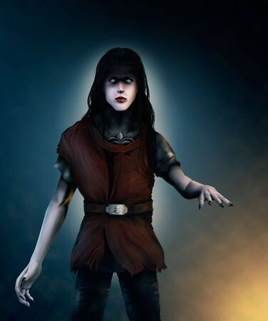 a digital painting of a pale vampire with long hair and glowing eyes, dressed in chain mail and wearing a crimson tunic photo