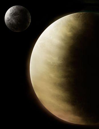 私たちの太陽系の 2 つの内側の惑星、金星と水星のデジタル絵画。