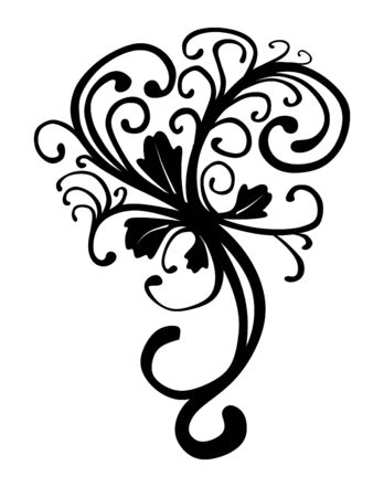 wedge: illustration of a wedge shaped decorative floral motif of leaves and vines Stock Photo
