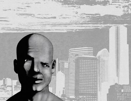 portrait of a distorted man on a city backdrop