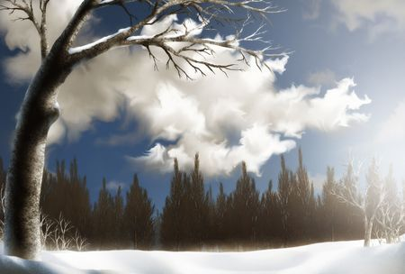 a surreal Winter landscape painting of a snowy field below fluffy white clouds