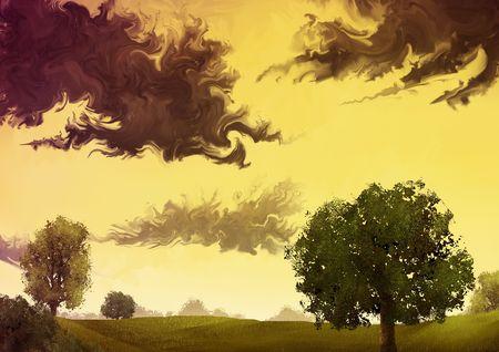 暖かい黄色空には暗雲と風景のデジタル絵画