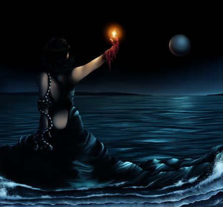 海になるドレスを着ている女性の超現実主義的な芸術家