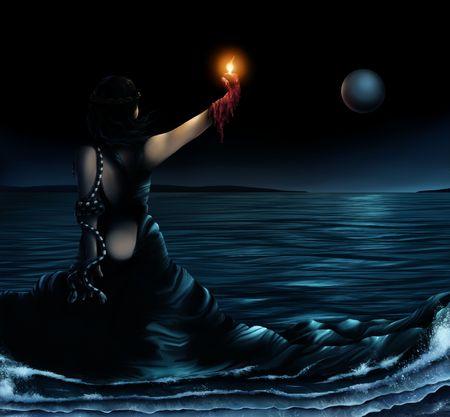 Surrealistische kunst werk van een vrouw die het dragen van een jurk die de oceaan wordt  Stockfoto - 6472337