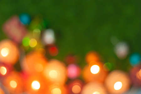 out of focus: Colorful out of focus Christmas tree lights blurred Stock Photo