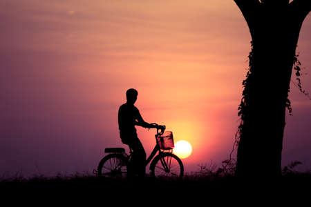 leafless: Man with bicycle in garden beautiful sunset and leafless tree Stock Photo