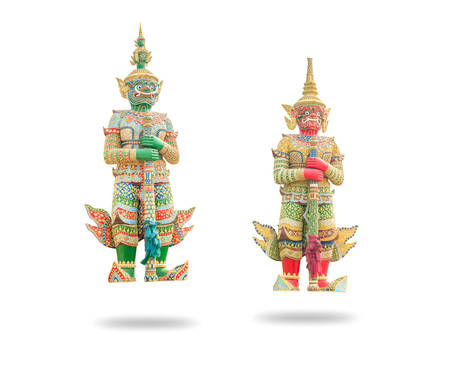 venerate: Green and Red Giant Two Guardian in the Temple, Thailand isolated on white background
