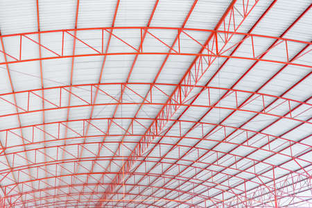 roof profile: Red iron structure roof background Stock Photo