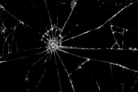 Black Broken glass, cracked glass on white