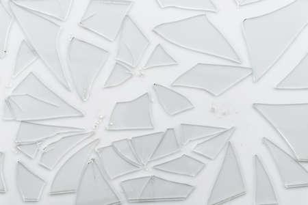 Broken glass, crack glass on white