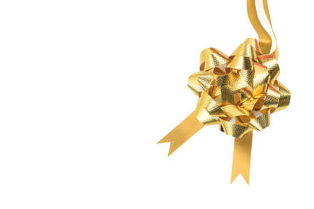 Golden ribbon and bow isolated