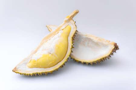 Ripe durian fruit on white background