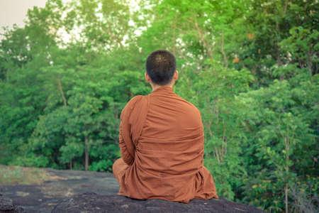 햇빛과 함께 아시아 스님 vipassana 명상입니다.