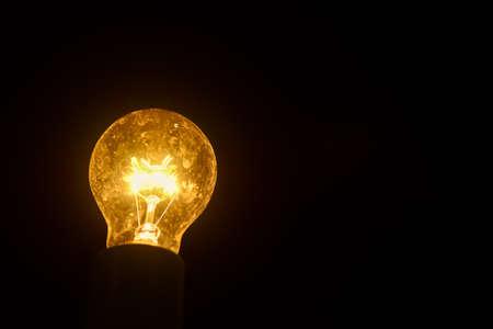 Light bulbs on Black Background ,idea concept.