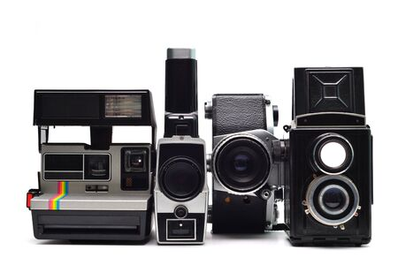 vintage photo: vintage old photo cameras group isolated over white