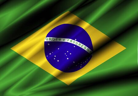brazil country: brazil country waving silk textile flag Stock Photo