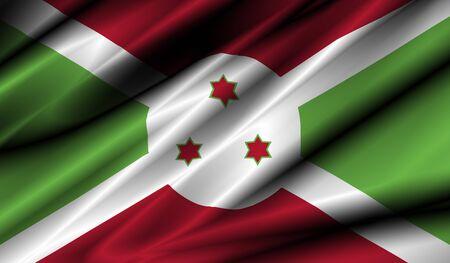 burundi: burundi country waving silk textile flag illustration