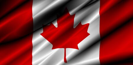 canada country: canada country waving silk textile flag illustration