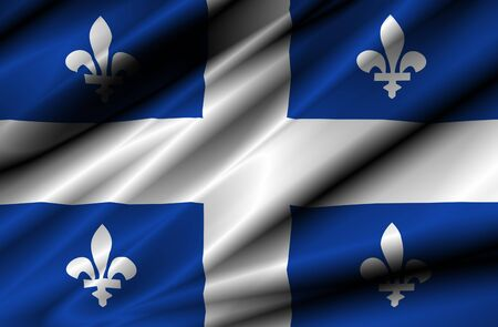 canada country: canada country quebec region waving silk textile flag Stock Photo
