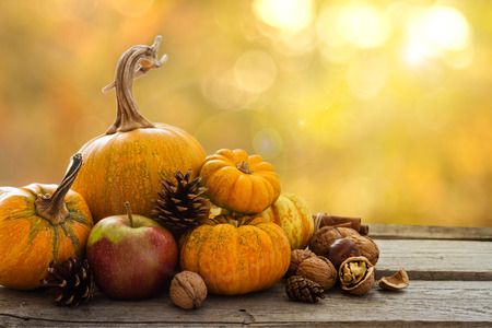 thanksgiving: Autumn nature concept. Fall fruit and vegetables on wood. Thanksgiving dinner. Blur background, light effect Stock Photo