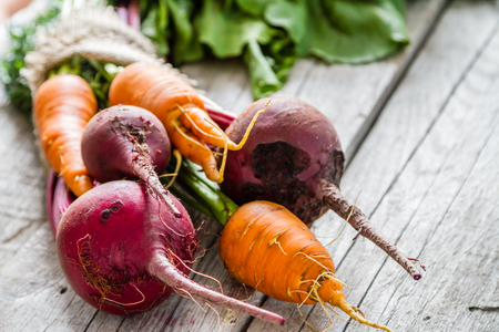 organic plants: Raw beet and carrot on rustic wood background, copy space Stock Photo