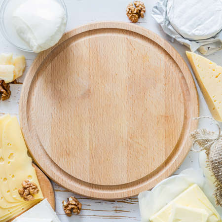 fresh: Selection of milk and dairy products on white wood background