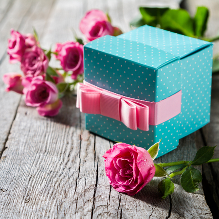 Beautiful present concept - for Valentines day, mothers day, birthday card, copy space