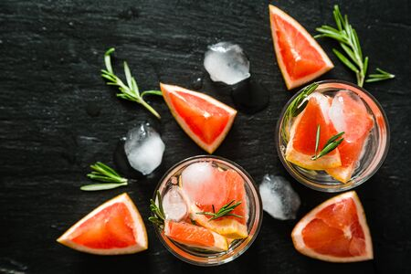 infusing: Summer refreshing drink and ingredients, copy space, top view
