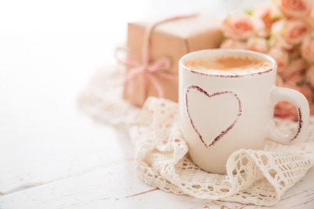 Mothers day concept - coffee present and roses copy space