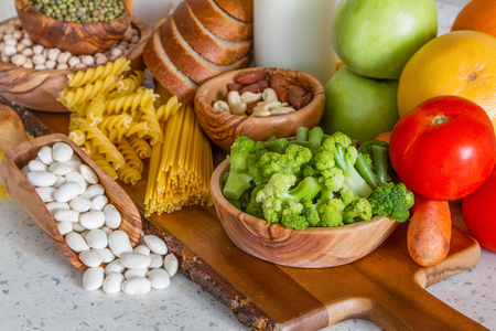 Selection of nutrients for vegetarian diet, copy space
