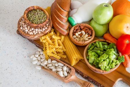 Selectie van voedingsstoffen voor vegetarisch dieet, kopie ruimte