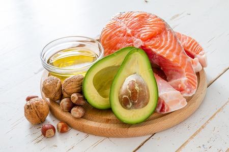 Auswahl von gesunden Fettquellen, Kopier-Raum Standard-Bild