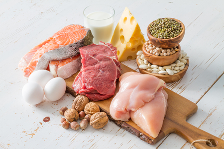 Selection of protein sources in kitchen background, copy space Stock Photo - 54514889