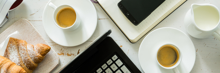 format: Business breakfast concept, copy space, top view, long format banner Stock Photo