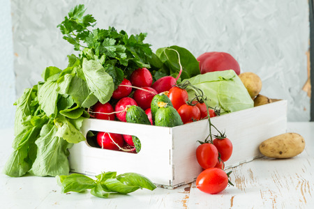 raddish: Selection of fresh vegetables from farmers market, copy space