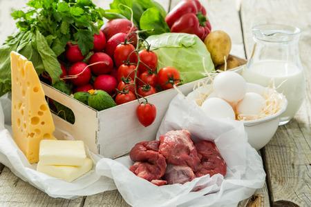 Selectie van verse producten van boeren markt, co Stockfoto