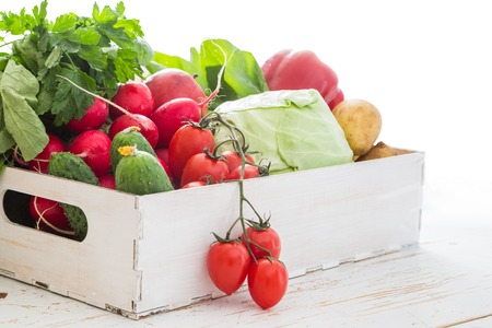 raddish: Selection of fresh vegetables from farmers market, copy space, Stock Photo