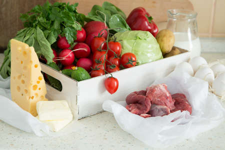 vegetare: Selection of fresh vegetables from farmers market, copy space, Stock Photo