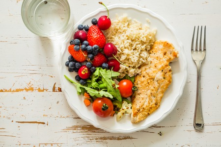 My plate - portion control guide, top view Stock Photo