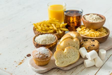 Selectie van slechte bronnen koolhydraten, kopieer ruimte