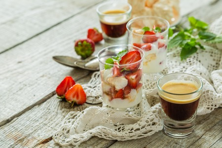 Traditional eton mess with strawberry, copy space
