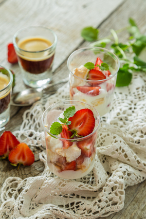 trifle: Traditional eton mess with strawberry, copy space