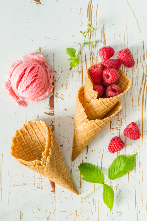 Raspberry ice cream on white wood background, top view