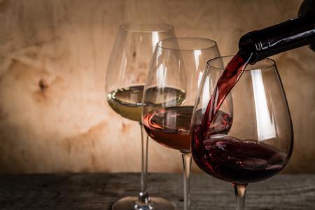 Die Auswahl der Wein zur Verkostung, Kopier-Raum Standard-Bild