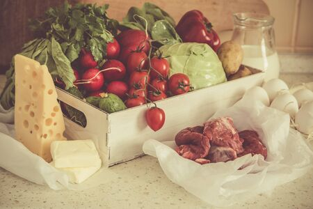 vegetare: Selection of fresh products from farmers market, copy space, toned Stock Photo