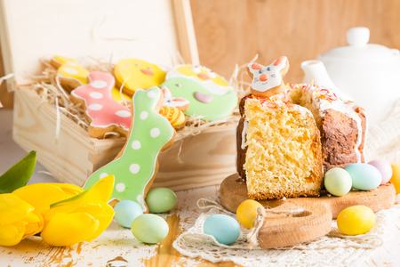 Easter decorations on white wood background, copy space