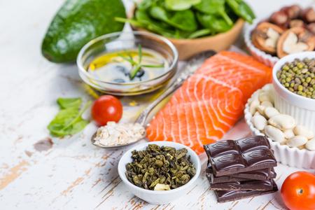 Selection of nutritive food - heart, cholesterol, diabetes, copy space