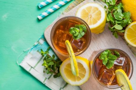 Iced tea in glasses Stock Photo