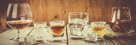 alcoholic drinks: Selection of alcoholic drinks Stock Photo